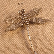 Matte Silver Beaded Dragonfly Pin