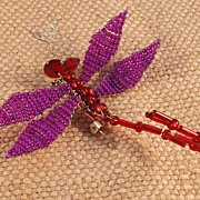 Purple/Red Beaded Dragonfly Pin
