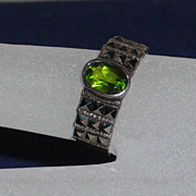 Marcasite / Sterling Faux Peridot Ring size 6.75
