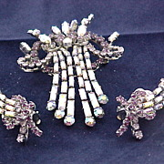 Vintage � Austrian Crystal Pin and Earrings Set � Clip