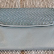 Metallic Light Blue Leather/Snake Wallet/Clutch Purse