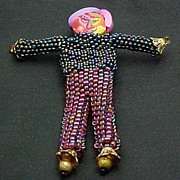 Beaded Doll Pin - Whimsy #1 Iris and Burgundy Aurora seed beads