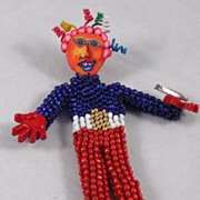 Beaded Doll Pin � Super Hero - Whimsy #3 Red/White/Blue Seed Beads
