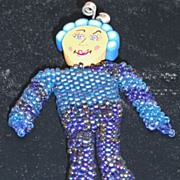 Beaded Doll Pin � Whimsy #4 Blue/Blue Iris Seed Beads