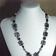 Black & White Zebra striped beads - Necklace, Bracelet & Earrings