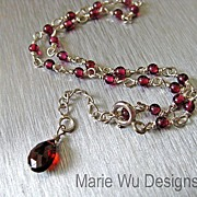 Crimson Garnet-Sterling Silver Adjustable Ankle Bracelet with Briolette Charm