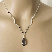 Picturesque Tourmalated Quartz~Black Spinel~Sterling Silver Necklace~
