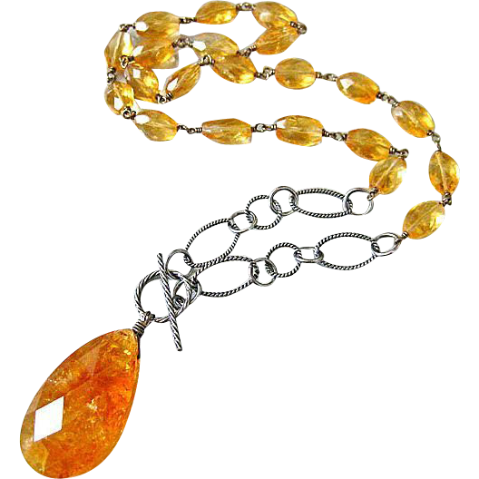 2 in 1 Necklace~50ct Natural Citrine Removable Pendant~Oxidized Textured Sterling Silver~