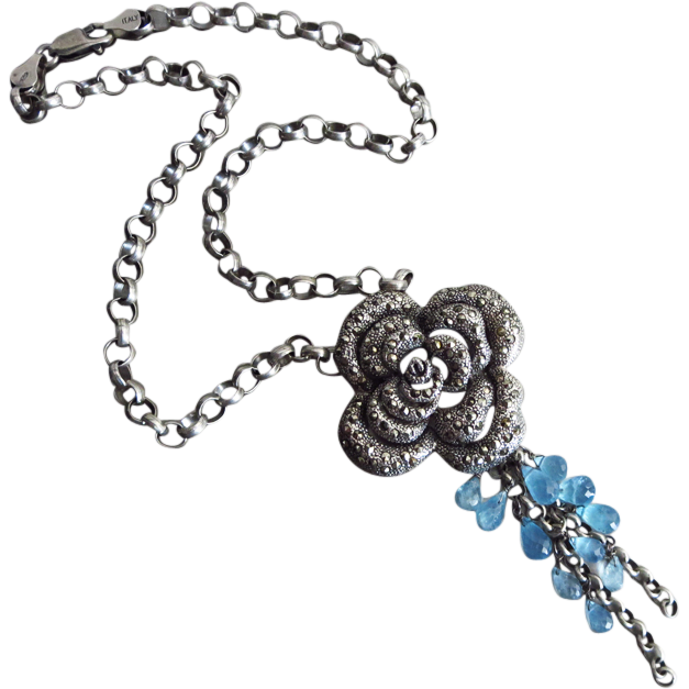 One of a Kind-Aquamarine-Marcasite Rose Pendant-Oxidized Sterling Silver Necklace