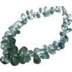 225ct Moss Aquamarine-Beryl Briolette-18k Solid Gold Necklace