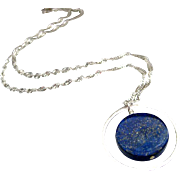 20mm Denim Blue Lapis Disc-Sterling Silver Hoop-Contemporary Necklace