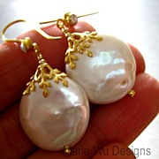Huge 20mm FW Coin Pearls-18K Solid Gold Embellished Earrings