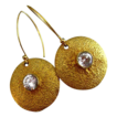 Contemporary-20mm disc-CZ-18k Gold Vermeil Earrings