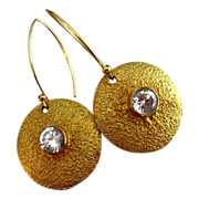SALE Contemporary-20mm disc-CZ-18k Gold Vermeil Earrings