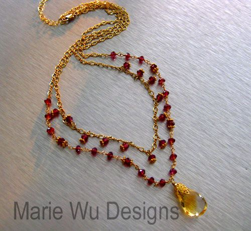 Natural Citrine Pendant~Rhodolite Garnet~2 Strand Vermeil Gold Fill Fringe Adjustable Necklace