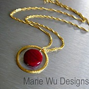 SALE 12.85ct Ruby Hoop Pendant-24k Gold Vermeil Necklace