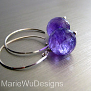12mm Purple Amethyst Orbs-Sterling Silver Contemporary Hoop Earrings