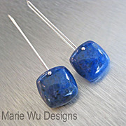 Contemporary Denim Blue Sodalite Cushion Cabachon-Handmade Sterling Silver Earrings