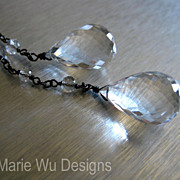 "SALE 42"" Versatile-Crystal Quartz-Oxidized Silver Lariat Multi Way Necklace"