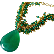 Green Onyx Fringe-Gold Fill Pendant Adjustable Necklace-