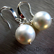 12mm Lustrous South Seas Shell Pearl-Sterling Silver Dangle Earrings