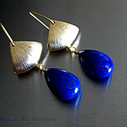 Denim Blue Lapis-Brushed Satin-Contemporary Gold Plated Dangle Earrings