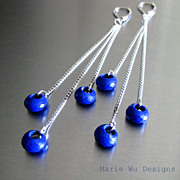 Swingers-Lapis Hoops-16k White Gold Plate Long Dangle Earrings