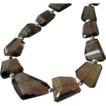 Bold~Smoky Quartz~Sterling Silver~Floral Clasp Necklace~