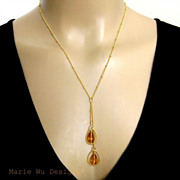 Citrine Briolettes-Vermeil Hoops-Gold Fill Cascade Adjustable Necklace
