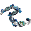 Paua Abalone Shell-Neon Apatite-Lapis-Azurite-Malachite-FW Pearl-Sterling Silver Adjustable Bracelet with Charms