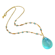 Spellbound-60ct Aquamarine-Beryl Pendant-18k-22k Solid Gold-Apatite Necklace