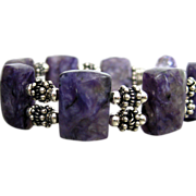 Natural Russian Purple Charoite-Balinese Silver Toggle Bracelet with Pink Amethyst Charm