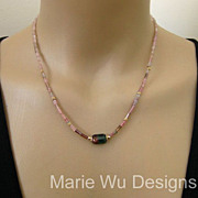 SALE Natural Bi Color-Pink Green Tourmaline Crystals-14k Solid Gold Necklace