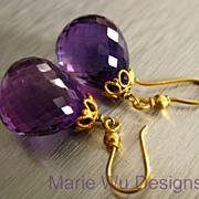 IF Clarity Purple Amethyst-18k Solid Gold Dangle Earrings