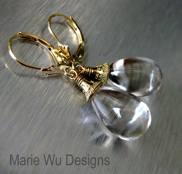 Liquid-Flawless Crystal Quartz-14k Solid Yellow Gold-Leverback Dangle Earrings