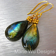 Fire Labradorite-18k Solid Gold Dangle Earrings