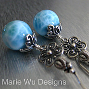 12mm Larimar Orbs-Handmade Artisan Bali Silver Dangle Earrings
