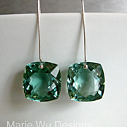 Cushion Cut Green  Amethyst-Sterling Silver Contemporary Earrings