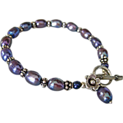Peacock FW Pearls-Bali Handmade Silver Bracelet with Charms