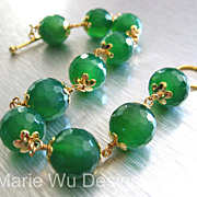 12mm Emerald Green Onyx Orbs-18k Gold Vermeil-14k Gold Fill Toggle Bracelet