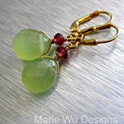 Chartreuse Chalcedony-Rhodolite Garnet-18k Gold Vermeil Dangle Earrings