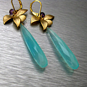 Petals-Aqua Chalcedony-Amethyst-Blossoms-Gold Plated Leverback Earrings