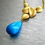 Exceptional All Natural Tibetan Turquoise-Natured Inspired-Gold Plated Pendant Necklace