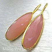 Bold-Pink Chalcedony-18k Gold Vermeil-Contemporary Bezel Earrings