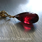 Mesmerizing Pyrope Garnet Pendant-14k Gold Fill-Long Layering Necklace