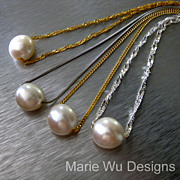 12mm Floating Fresh Water Pearl-Pick Your Own Chain-Sterling Silver-14k Gold Fill-Bridal Party