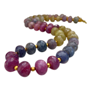 Sorbet~388ct Multi  Umba Sapphire~Solid 20K Gold Necklace~Pinks~Baby Blues~Golds~Lavender & Ma