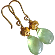 Glow~Natural Gem Prehnite~Solid 20k Gold Earrings~