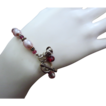 Gem Rhodolite Garnet~Rosy Fresh Water Pearls~Bali Silver Bracelet with Charms~