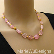 Super Rare~Afghan Pastel Pink Tourmaline Cabachon Nugget~20k 22k Solid Gold Necklace~